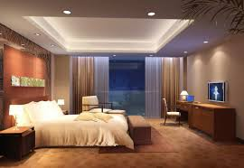 luxurious tray master bedroom ceiling with led recessed lighting in a bedroom with brown curtains and wood laminate floor