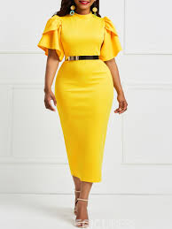 Eric Dress Size Chart Ericdress Yellow Ruffle Sleeve Patchwork Bodycon Dress