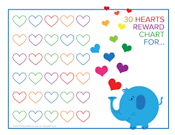 Cutest Elephant And Rainbow Hearts Reward Chart Free