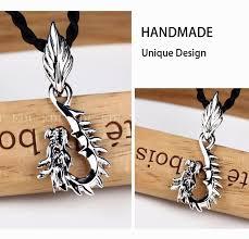 edi 925 sterling silver dragon necklace pendant for men retro classic sterling silver jewelry gemstone