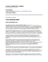 Press Release Templet Press Release Company Has Completed A Merger Template Word Pdf