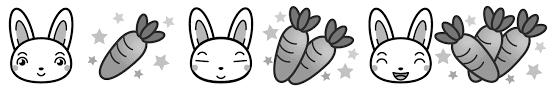 うさぎとニンジンライン罫線イラスト動物昆虫ライン罫線