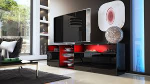 Tv Unit Stand Granada V2 Carcass In Black High Gloss Front In