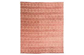 21st century modern silk and wool rug geometric design with red colors vinterior