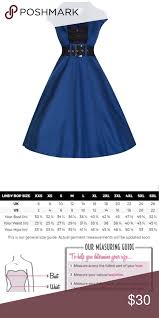 Lindy Bop Size Chart Lindy Bop Blue And Black Rockabilly Dress New With Tags