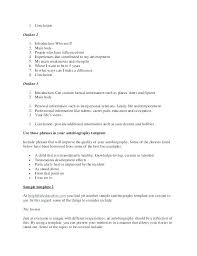 Outline For Writing A Biography Student Biography Template Autobiography Format For