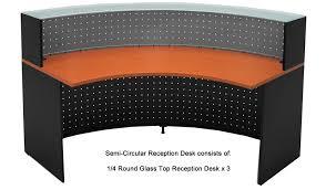semi circular glass top reception desk