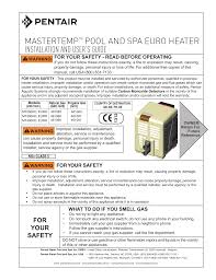 Pentair Mastertemp 400 Service Heater Light Installation And User S Guide Mastertemp Pool Manualzz Com
