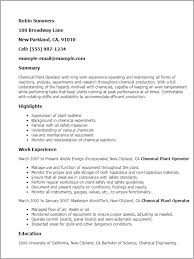 Resume For Chemical Plant Operator Professional Resume Templates