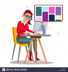 Vector Image Designer Graphic Designer Working Vector Woman Searching For