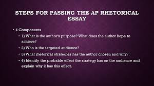 steps for passing the ap rhetorical essay components  steps for passing the ap rhetorical essay 4 components 4 components 1 what is the