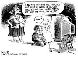 kids watching tv violence. where do you think film makers should draw the line on what is entertaining and can potentially be harmful to society? images words of violence are kids watching tv