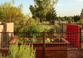 albuquerque deer fence designs landscape eclectic with raised bed pink statues and sculptures kitchen garden
