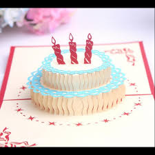 3d Birthday Cake Greeting Card Blessing Card