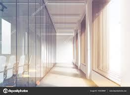 office corridor door glass. Front View Of Office Interior With Blank Whiteboard Behind Glass Doors, Hallway Concrete Floor And Panoramic Windows. Mock Up, 3D Rendering, Corridor Door