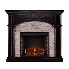 tanaya electric fireplace ebony w gray stacked stone
