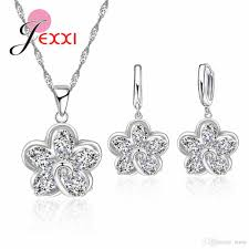 2019 jei lovely 925 sterling silver flower pendant necklace fashion cz crystal hoop earrings jewelry sets party 18 chain jewelry from tenni