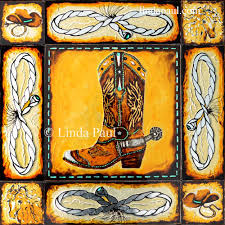 Western Rustic Decor Western Art Painting Cowboy Country By Artist Linda Paul Russell