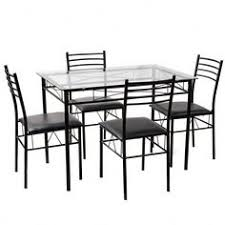 5 pcs dining gl top table 4 upholstered chairs