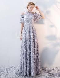 Light Grey Occasion Dress Prom Dresses Long Light Grey Cold Shoulder Evening Dress