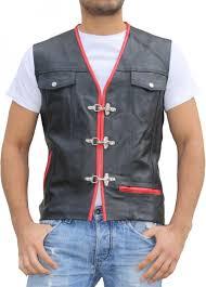 leather motorcycle vest leathervest bikervest black red
