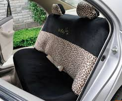 whole oulilai hello kitty leopard car front rear seat covers plush universal 19pcs beige car seat covers accessories s from chinese