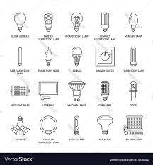 Different Types Of Led Lights Light Bulbs Flat Line Icons Led Lamps Types
