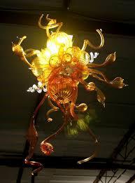 customized warm amber blown art glass chandelier lamp