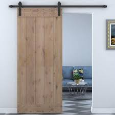 sliding barn doors interior. Bent Strap Sliding Door Track Hardware And Vertical Slat Primed Knotty Solid Wood Panelled Alder Slab Interior Barn Doors G