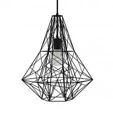 new black birdsnest cage pendant light