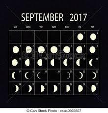 Moon Phases Calendar For 2017 September Vector Illustration
