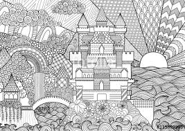 zendoodle of castle landscape for background and coloring book pages