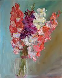 multi color art abstract flower gladiolus art palette knife original oil painting flower still life pink purple white wall art home decor original