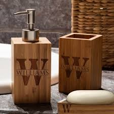 Bamboo Vanity Bathroom Mesmerizing Personalized Vanity Set Custom Engraved Bamboo Bathroom Etsy