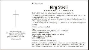 Traueranzeige Von Jörg Streli Vom 16022019