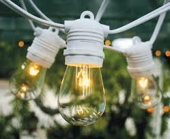 commercial outdoor string lights. 10 Socket Outdoor Commercial String Light Set, S14 Bulbs, 21 FT White Cord W Lights