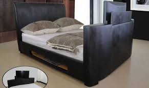 Black Leather Remote Control Double TV Bed