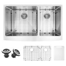 vigo farmhouse undermount stainless steel 36 in double bowl kitchen sink with grid and strainer vgr3620blk1 the home depot
