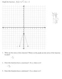 graphing a quadratic function students are asked to graph graphing functions worksheet doc getting started