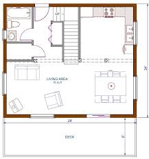 Floor Plan Cottage, 672 sqft Footprint (B), 1200 sqft Living Space This  could work in a 2 car garage loft conversion as well.
