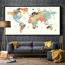 large world map for wall large world map wall hanging plaque environmental graphics giant world map wall mural