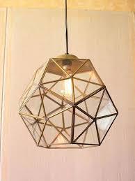 gold glass geometric large pendant light small