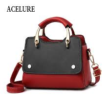 acelure metal handle small handbags for female solid color pu leather shoulder bags for women all