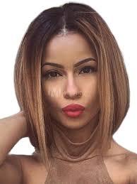 Magnifique Perruque De Cheveux Humains Brun Foncée Raie Au Milieu Dégradé Mode