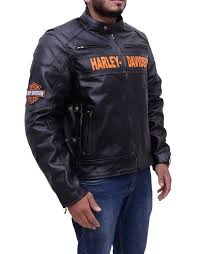 harley davidson mens motorcycle riding real leather jacket