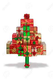 A Christmas tree made from gift wrapped presents, isolated on a white  background with clipping