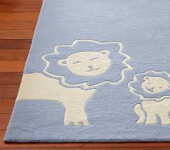 Perfect Sample Rugs For Baby Boy Nursery Rectangular Shape Lion Blue Color  Wooden Component Floor
