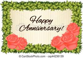 Template Anniversary Card Happy Anniversary Card Template With Red Roses