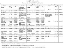 Daily Time Table Amity Indian Military College