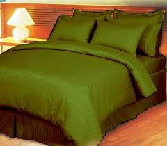 ultra soft cotton striped olive king size bed sheet by ibed 3 piece set